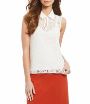 New Womens Calvin Klein Corded Floral Lace Solid Collar Sleeveless Top M... - $27.90