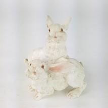"""Home Interiors HOMCO 2002 WHITE EASTER BUNNIES Resin Figurine 4"""" Tall EUC - $14.01"""