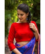 Red velvet double tie back blouse | Ready made Indian Designer Saree Blouse - $35.99