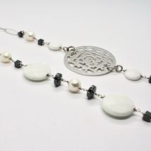 1 MT Long Necklace in Silver 925 with Hematite Agate and Pearls Made in Italy image 6