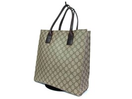 Auth GUCCI GG Pattern PVC Canvas Leather Browns Tote Bag GT1772  - $298.00