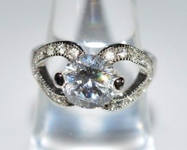 Vintage NVC Signed Silver Tone Clear Rhinestone Solitaire Cocktail Ring ... - $29.70
