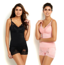Rhonda Shear Pin-Up Lace Camisole 2-pack in Black/Coral Pink, Medium (527888)