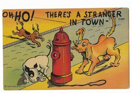 """1942 Linen Curt Teich Comic Postcard- C-820 dogs fire hydrant """"Stranger in Town"""" - $9.99"""