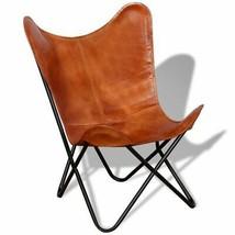 vidaXL Butterfly Chair Vintage Real Leather Brown Hide Sleeper Seat Lounge image 1