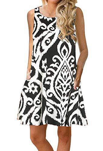 OURS Women's Summer Sleeveless Damask Print Pocket Loose T-Shirt DressA-White, M