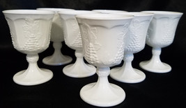 Vtg Indiana Glass Colony Harvest Milk Glass Water Goblet, Set of 6 (circ... - $40.50