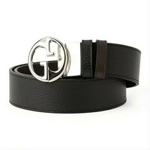 New Gucci Women's Black Blue Classic Interlocking GG Buckle Belt Size 90 - $332.22
