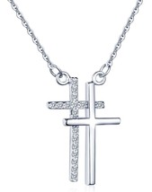 Classic Cross Crucifix Pendant Chain Necklace 925 Sterling Silver Cub - $44.74