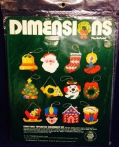 Dimensions Christmas Favorites Ornament KIT Plastic Point Santa Sleigh 9044 - $14.84