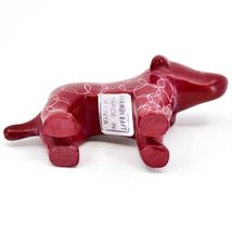 Tabaka Chigware Hand Carved Kisii Soapstone Red Standing Puppy Dog Figure image 5