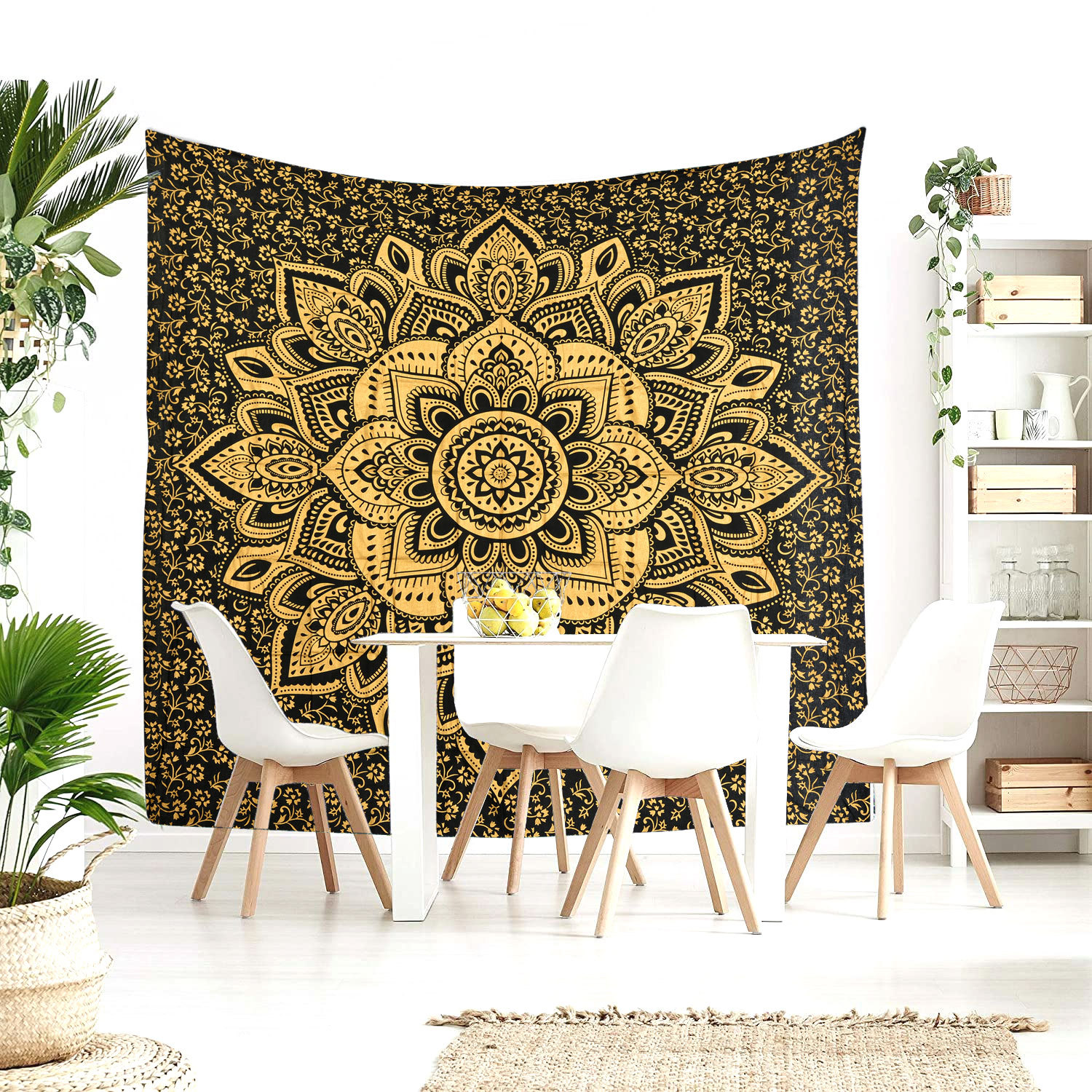 Primary image for Queen Size Black Gold Lotus India Handmade Mandala Bed Sheet Home Decor Bohemian