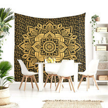 Queen Size Black Gold Lotus India Handmade Mandala Bed Sheet Home Decor ... - $24.98