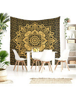 Queen Size Black Gold Lotus India Handmade Mandala Bed Sheet Home Decor ... - £18.05 GBP