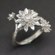 Silver Sunflower and Bee Ring image 3