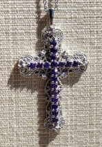 Purple  Silver Colored Cross Necklace Pendant Karis STS Fashion Jewelry  - $39.99