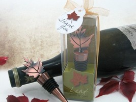 50 Bronze Elegance Fall Autumn Maple Leaf Bottle Stopper Wedding Favor Gift - $128.16