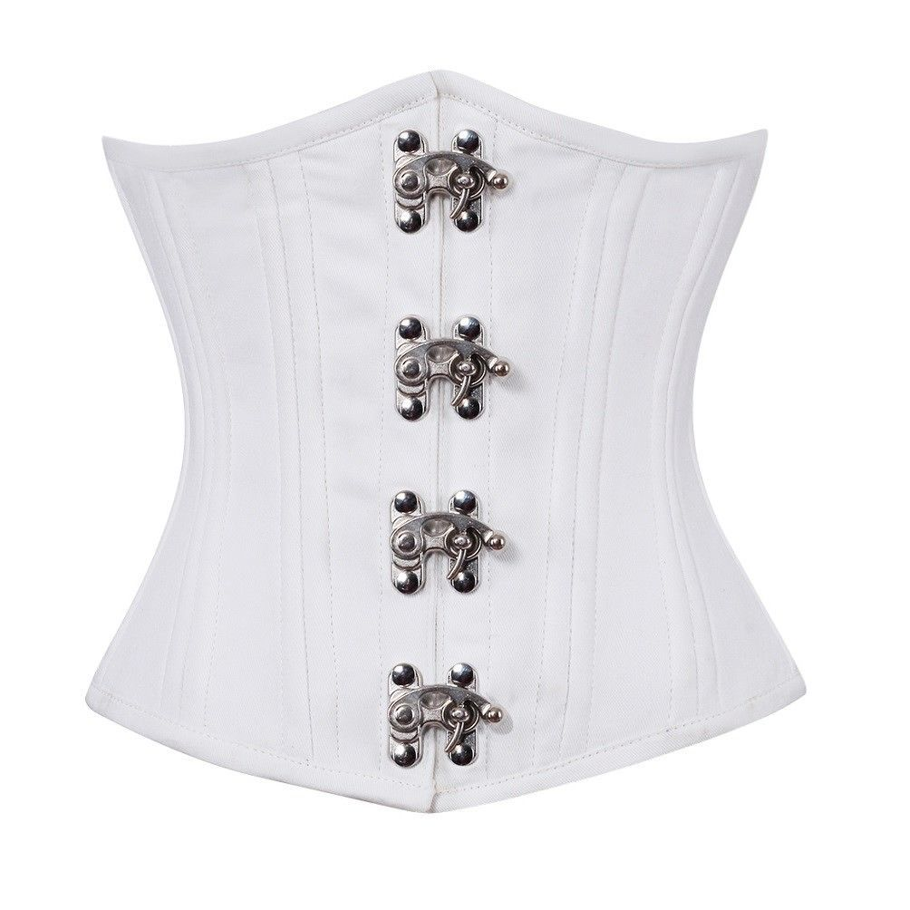 White Satin Seal Lock Double Bone Gothic Steampunk Bustier Underbust Corset Top  image 1