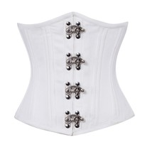 White Satin Seal Lock Double Bone Gothic Steampunk Bustier Underbust Cor... - $51.71