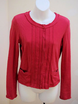 Club Monaco S/P Jacket Cardigan Red Elle Small Snap Front Top - $12.73
