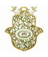 "5"" Green Enamel Evil Eye Protection Hamsa Hand Wall Hanging Home Decor G... - $27.97"