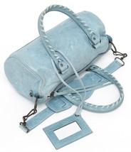 BALENCIAGA Leather Bag MINI TWIGGY Satchel Blue Brass Lambskin Shoulder ... - $666.90
