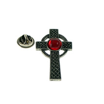 Interlaced Cross with red Gem Pewter clip on rear Pin ,Badge / tie pin unisex gi