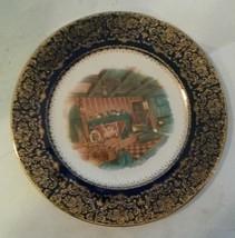 Salem China Company Imperial Service Plate 23 Karat Gold Cobalt Blue Fir... - $25.00