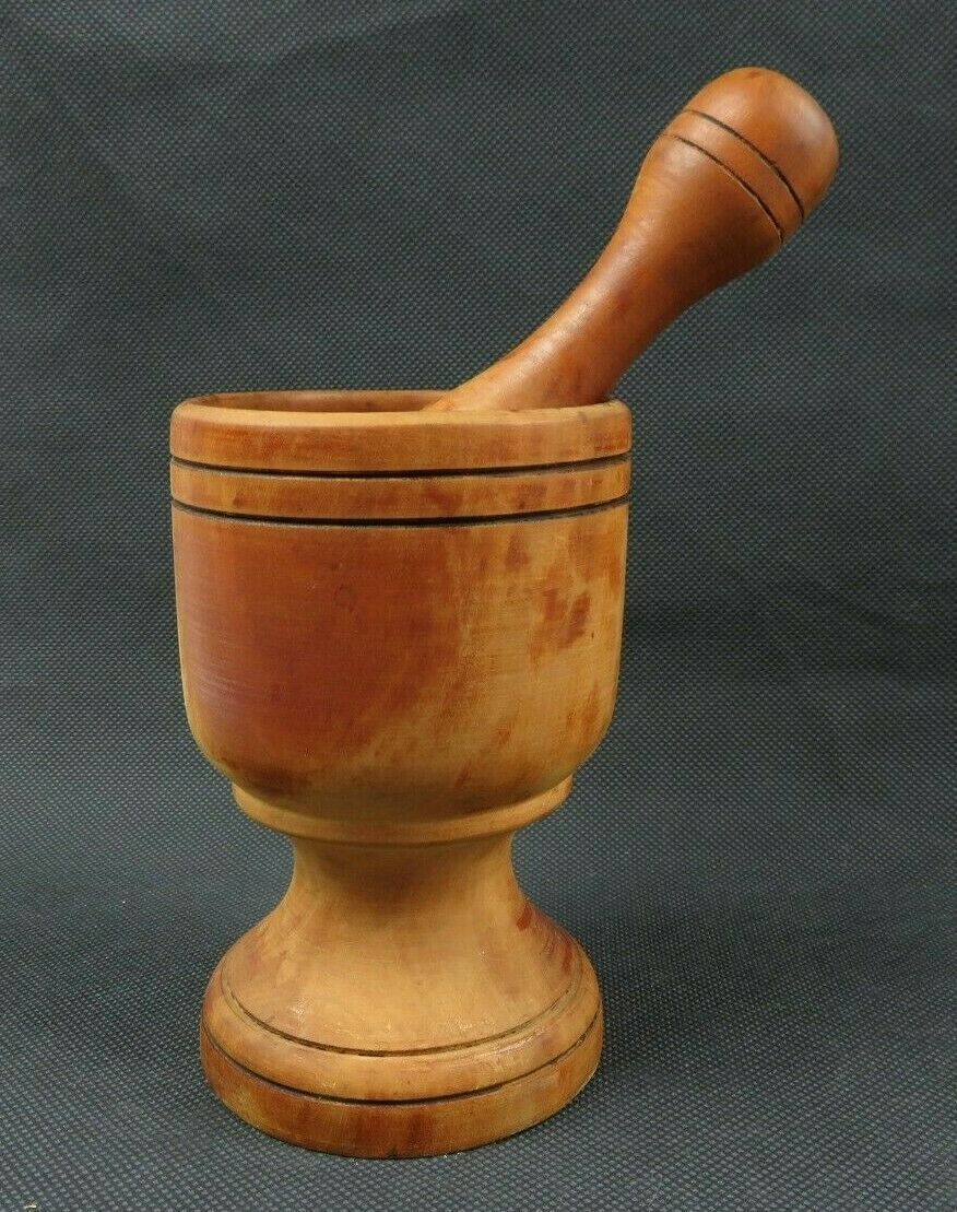Vintage wood mortar and pestle Danish Design décor Apothecary deco