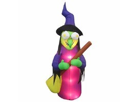 6.5-Ft. Lighted Animated Airblown Inflatable Eyes Spinning Witch Halloween Decor - $59.99
