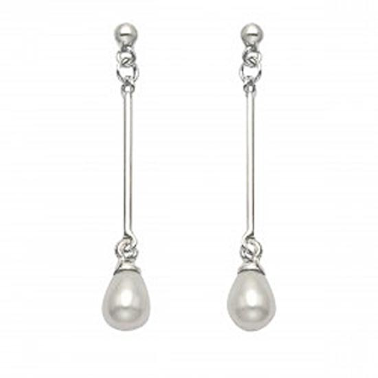.925 SILVER POST DANGLE EARRINGS WITH WHITE PEARL