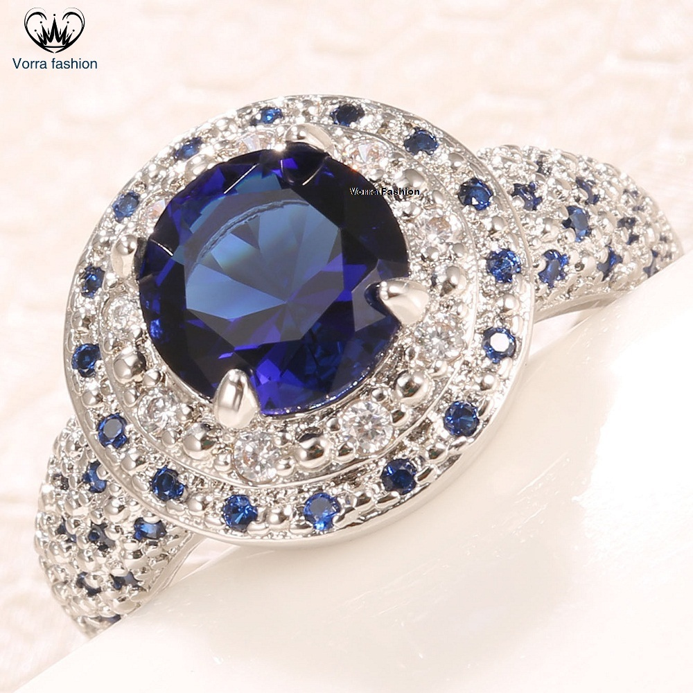 Primary image for Circle Wedding Ring In White Gold Plated Sterling Silver Round Cut Blue Sapphire
