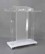 Deluxe Acrylic Plaxiglass Lucite Podium w/ Casters Floor Standing Lectern - $715.44