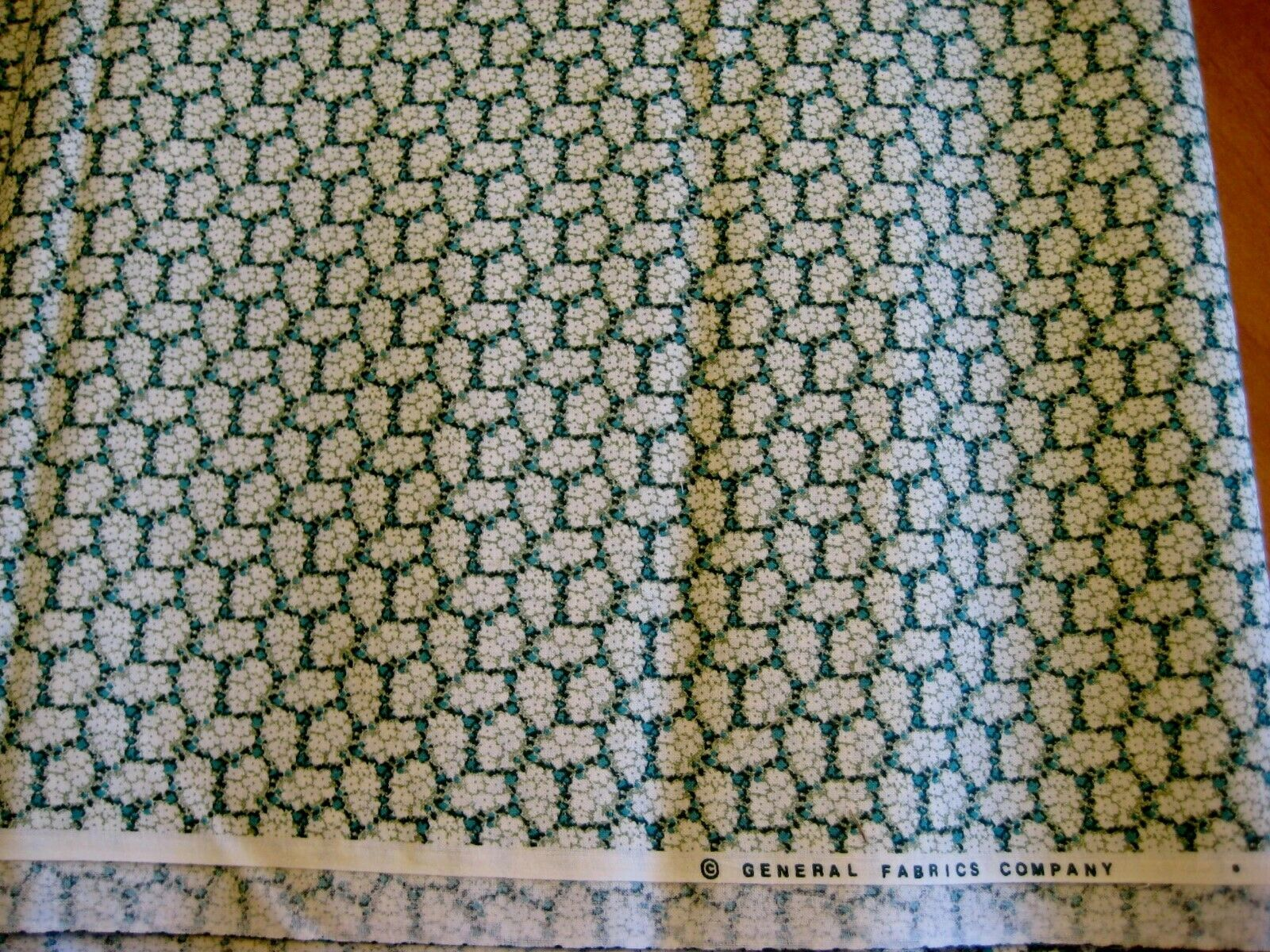 General Fabrics Co. green white calico tiny flowers fabric cotton by the yard