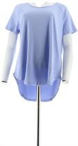 Isaac Mizrahi Essentials Short Raglan Slv T-Shirt Powder Blue M NEW A306541 - $17.80