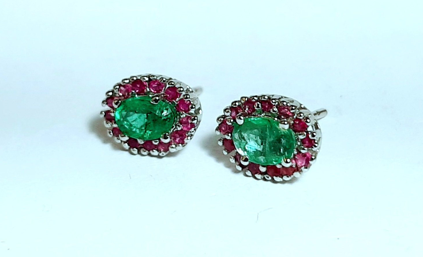 925 Sterling Silver Natural Fine Quality Emerald And Ruby Gemstone Handcrafted D