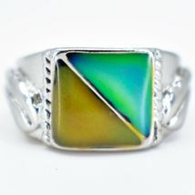 Geometric Square Triangle Color Changing Contrasting Silver Painted Mood Ring image 3