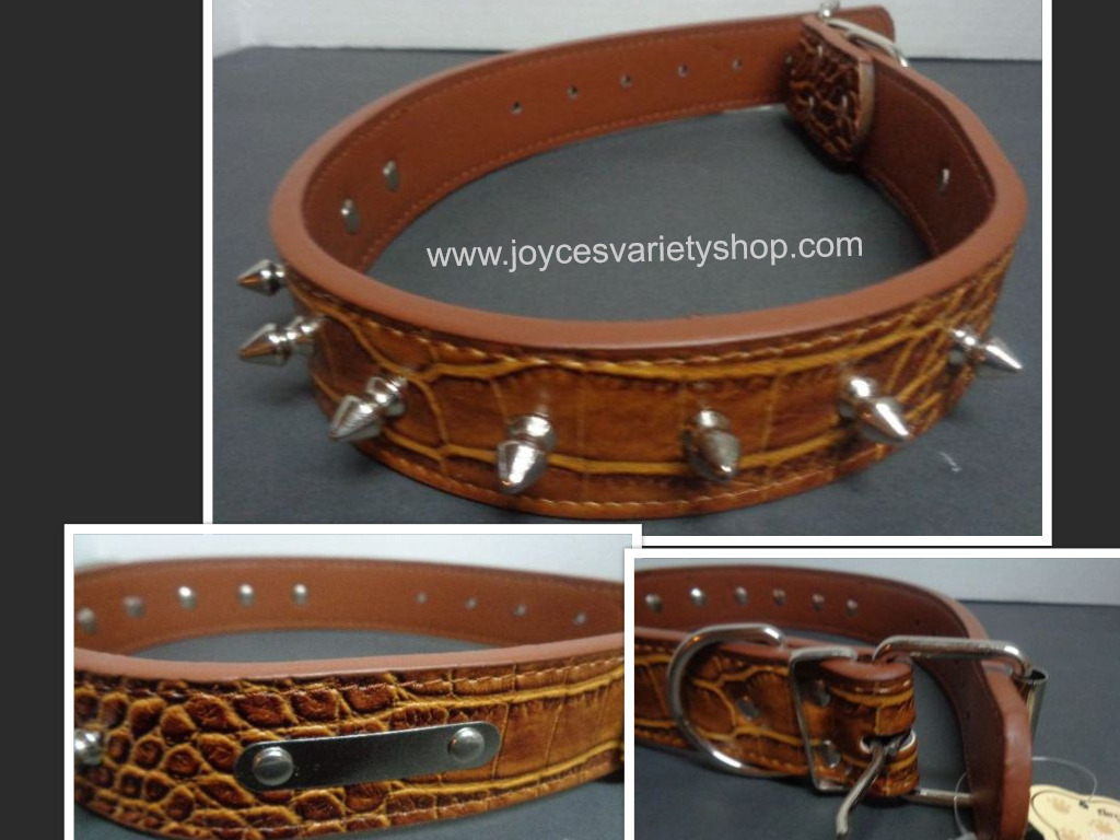 Brown spike dog collar 25 inch collage