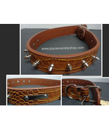 """Large Breed Spike Dog Collar NWT Heavy Duty Adjustable Brown 23"""" - $11.99"""