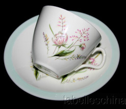 Foley England Demitasse Tea Cup and Saucer Pattern 6107 Pink Floral Gree... - $29.65