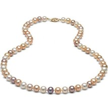 """7-8mm AAA Freshwater Multicolor Pearl 18"""" Necklace 14k Solid Yellow Gold... - $574.16"""