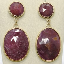 YELLOW GOLD EARRINGS 9K WITH RUBIES ROUGH MADE IN ITALY PIECE SINGLE image 2