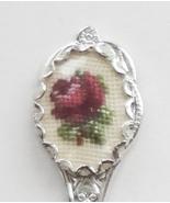 Collector Souvenir Spoon Petit Point Needlepoint Purple Rose Flower - $9.99