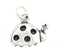 STERLING SILVER SMALL TINY ONE SIDED LADY BUG CHARM or PENDANT - $12.65