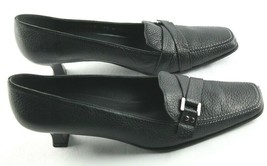 Stuart Weitzman Pumps Womens Size 7.5 Black Pebbled Leather Square Toe S... - $36.00
