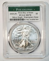 2020 P SILVER EAGLE Dollar $1 EMERGENCY ISSUE PCGS MS70 FDOI Coin Sku C135