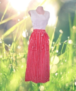 vintage red white plaid maxi dress size small 4... - $49.99
