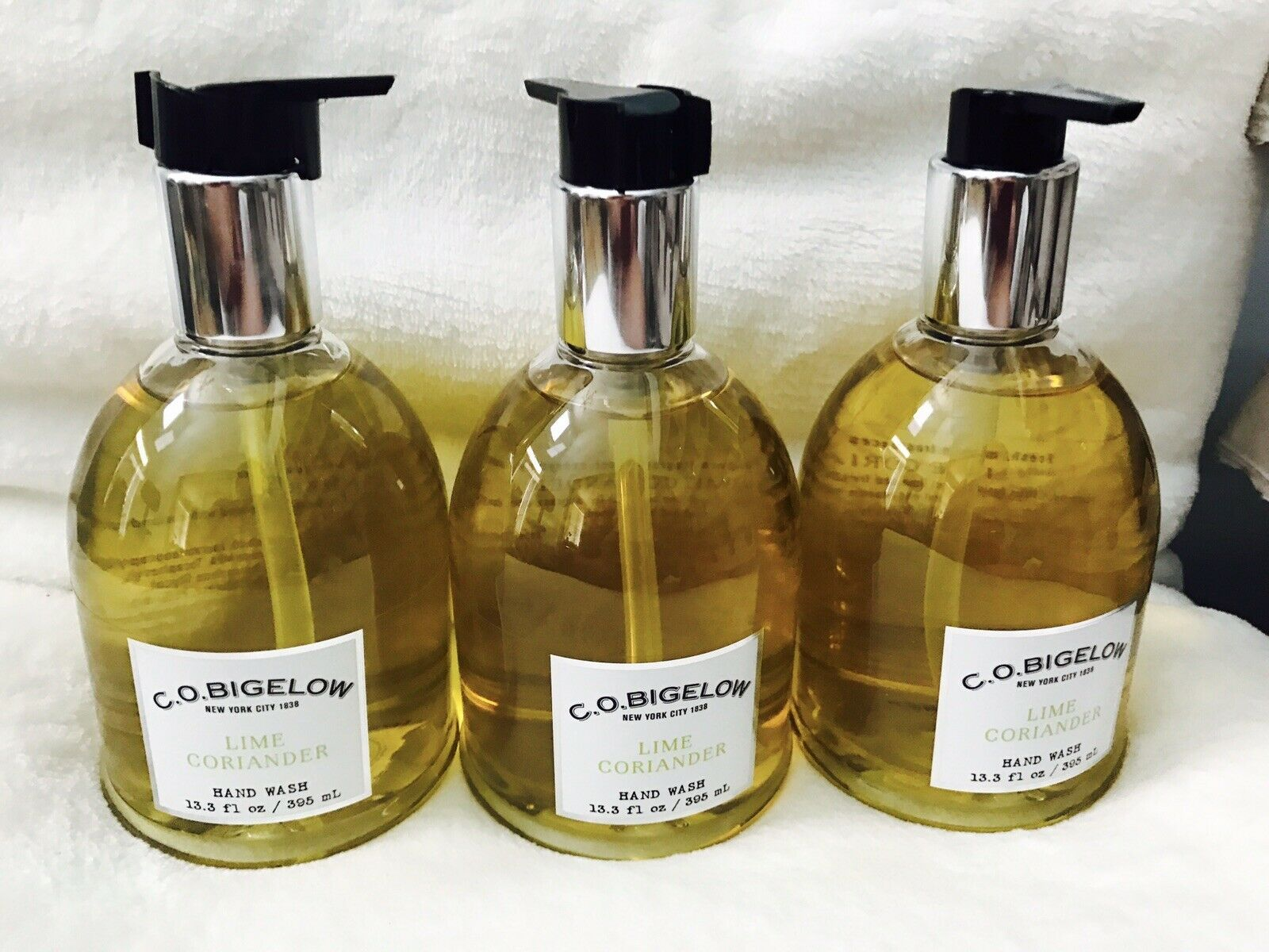 3 Bath & Body Works CO Bigelow Lime Coriander  Hand Soap Wash 13.3 oz