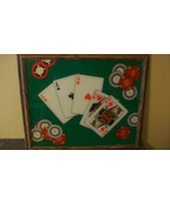 VINTAGE FRAMED ACES & QUEENS POKER ART! PERFECT FOR YOUR MAN CAVE - $74.25
