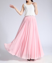 Pink MAXI CHIFFON SKIRT Women High Waisted Chiffon Maxi Skirt Plus Size image 4